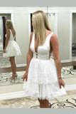 A Line V Neck Lace Short Mini Tiered Prom Dresses, White Above Knee Homecoming Dress H1079