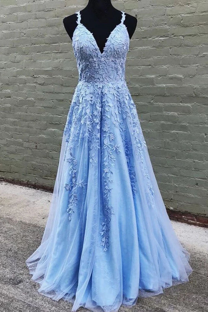 A Line V Neck Long Blue Lace Appliques Prom Dresses, Formal Bridesmaid Dresses P1156