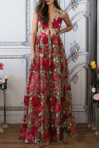 A Line V Neck Red Floral Boho Prom Dress Elegant Long Evening Dresses PW518