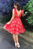 A Line V Neck Short Red Lace Appliques Backless Formal Dresses, Homecoming Dresses H1134
