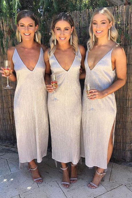 A line Ankle Length Deep V Neck Bridesmaid Dresses with Side Slit, Wedding Party Dress PW913