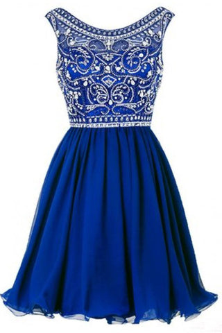 A line Blue Chiffon Scoop Homecoming Dresses with Beads Straps Prom Dresses PW802