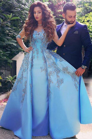 A line Blue Half Sleeve Satin Beads Prom Dresses Sweetheart Lace Appliques Formal Dress PW551