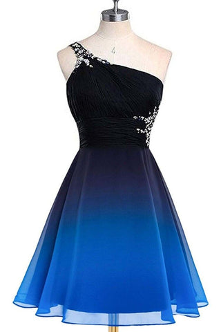 A line Blue One Shoulder Beads Short Prom Dresses, Chiffon Homecoming Dresses PW853