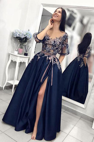 A line Blue Prom Dresses with High Slit Short Sleeve Satin with Pockets Evening Dresses PW676