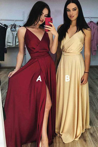A line Burgundy Ruffles V Neck Elastic Satin Prom Dresses with High Slit PW694