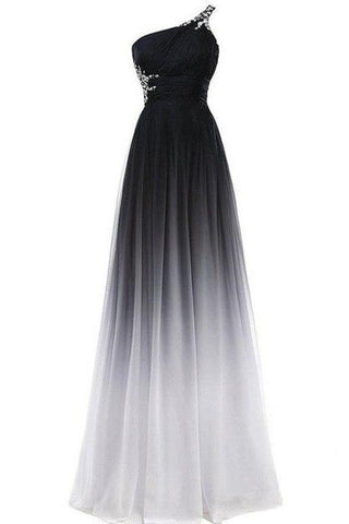 A line Chiffon Black and White One Shoulder Prom Dresses, Long Ombre Evening Dresses PW690