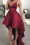 A line Deep V Neck High Low Spaghetti Straps Sleeveless Taffeta Prom Dresses uk PW358