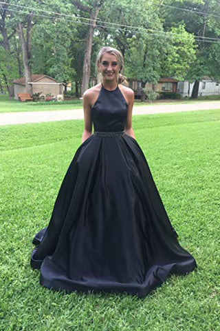 A line Halter Navy Blue Beads Prom Dresses with Pockets Long Evening Dresses PW566