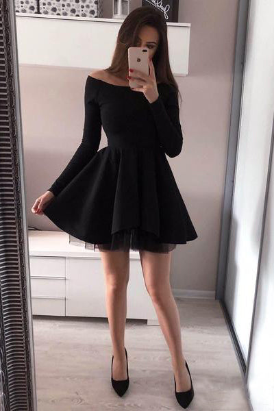 A line Long Sleeve Black Satin Short Prom Dresses Above Knee Cocktail Dresses PW659