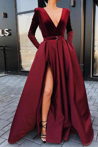 A line Long Sleeve Burgundy Prom Dresses Satin Deep V Neck High Slit Evening Dress PW650
