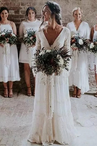 A line Long Sleeve Deep V Neck Lace Backless Wedding Dresses Long Bridal Dresses PW558