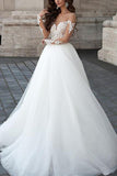 A line Long Sleeve Tulle White Lace Appliques Wedding Dresses Long Wedding Gowns PW561