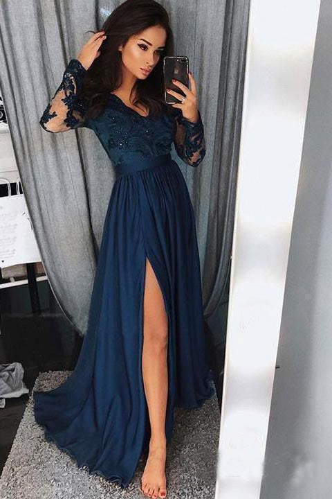 A line Navy Blue Long Sleeve Sweetheart Prom Dresses Slit Long Evening Dresses PW525