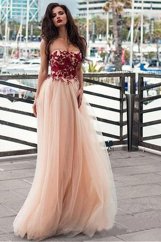 A line Pink Red Lace Appliques Prom Dresses Strapless Tulle Long Evening Dresses PW535