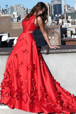 A line Red Halter Satin Prom Dresses Sleeveless Appliques Dance Dresses PW713