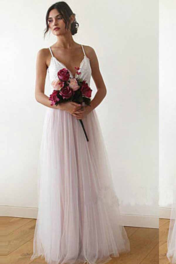 A line Spaghetti Straps Pearl Pink V Neck Backless Tulle Bridesmaid Dress, Prom Dresses BD1007