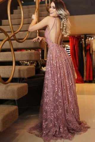 A line V Neck Pink Lace Backless Appliques Prom Dresses Sleeveless Evening Dresses uk PW555