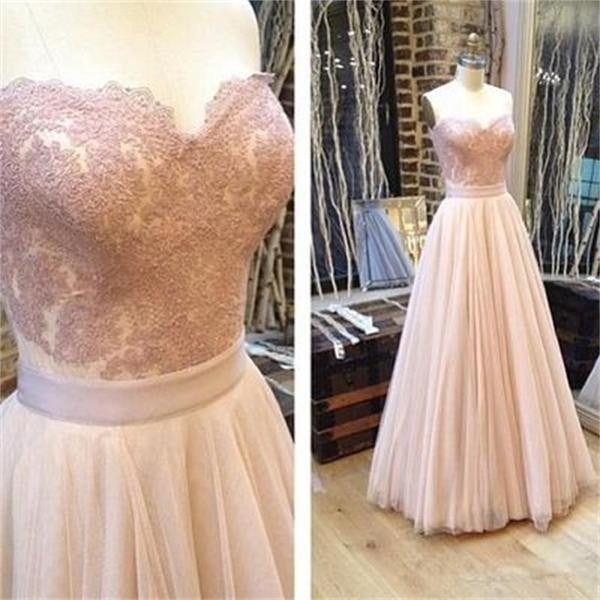 Sweetheart A-line Tulle Charming Lace Strapless Pink Sleeveless Backless Long Prom Dresses uk PH26