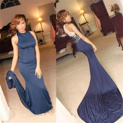 High Neck Navy Blue Sexy Mermaid Party Cocktail Dresses,Long Prom Dresses uk Online,PD0192