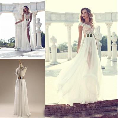 Cap Sleeves Sexy V-neck Side Slit Wedding Party Dresses,Popular prom dresses online,WD0121