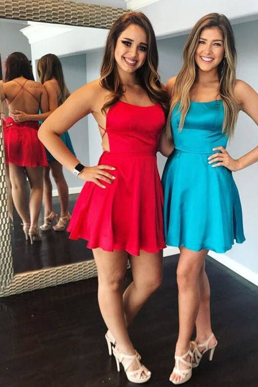 Princess Spaghetti Straps Short Burgundy Homecoming Dresses with Criss-Cross H1194