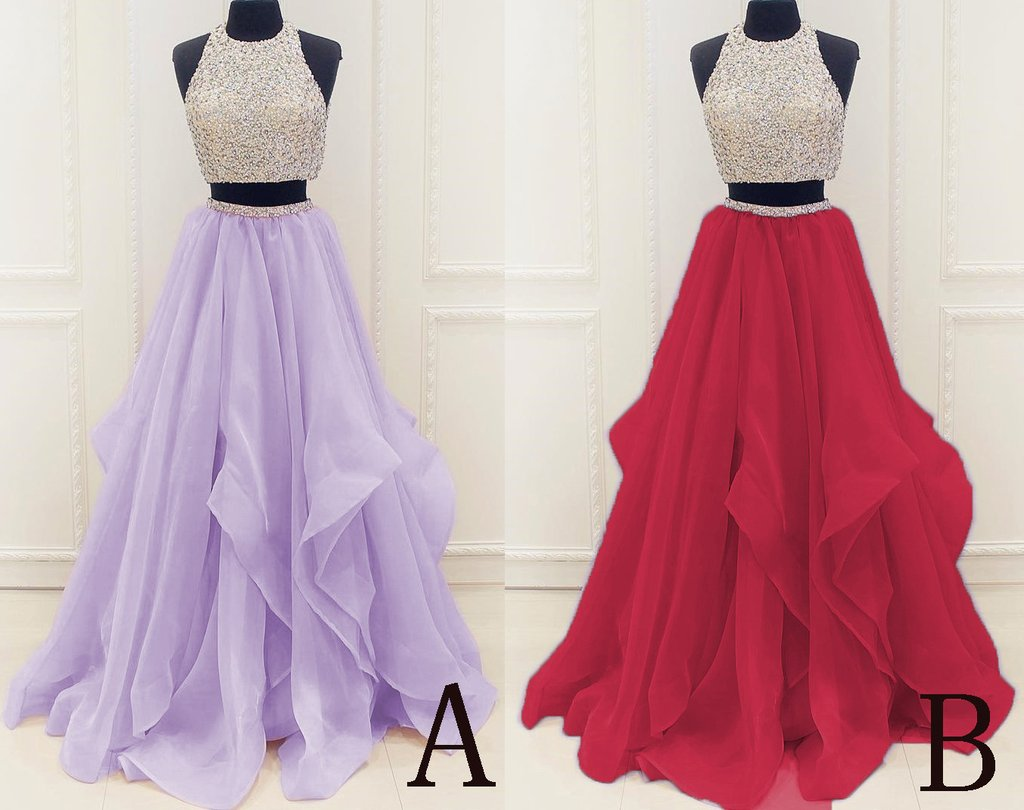 Two Piece High Neck Burgundy Prom Dress Beaded Open Back Evening Gowns PW499