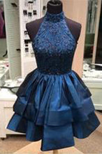 Pretty A-line High Neck Above-knee Beaded Dark Blue Backless Short Homecoming Dresses uk PH165
