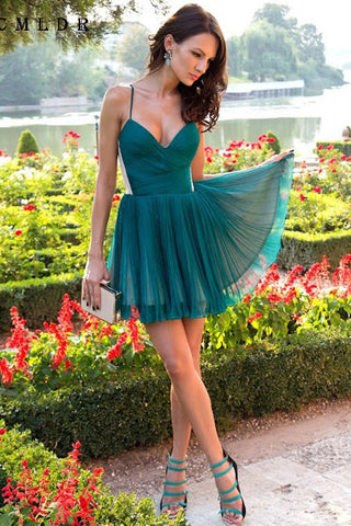 A Line V Neck Spaghetti Straps Pleated Chiffon Cheap Mini Homecoming Dresses uk PW17