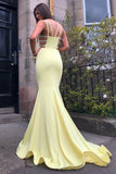 Elegant Mermaid Yellow V Neck Spaghetti Straps Prom Dresses, Long Evening Dresses P1547