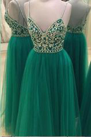 Spaghetti Straps Beading Handmade Long Evening Dress Formal Women Dress,prom dresses uk,Z104