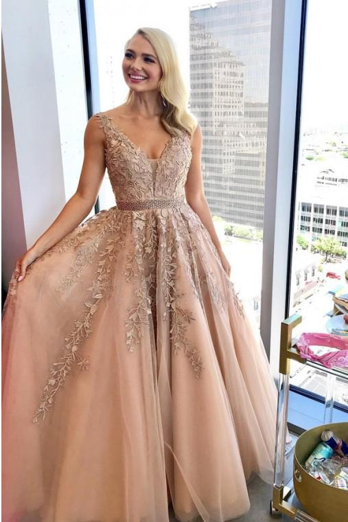 Charming A Line V Neck Beads Tulle Prom Dresses with Appliques, Floor Length Formal Dresses P1283