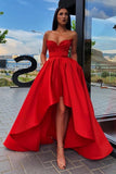 Elegant A Line Red Strapless High Low Prom Dresses with Pockets, Long Party Dresses P1268