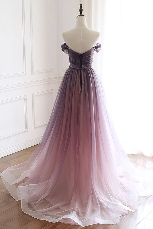 A Line Off the Shoulder Tulle Long Prom Dresses, Lace up Simple Party Dresses P1261