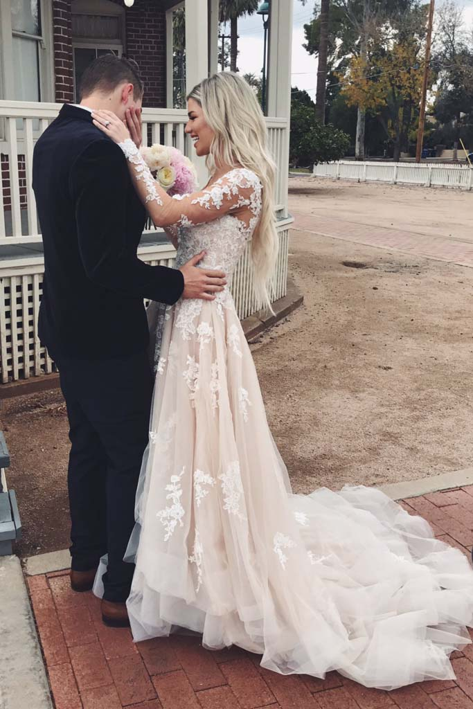 f56cd255db A line V Neck Asymmetrical Long Sleeve Lace Tulle Wedding Dresses with Train