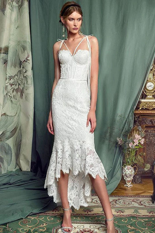 Elegant Lace Off White Sheath Prom Dresses, Lace Simple Wedding Dresses P1167