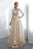Charming A Line Floral Scoop Prom Dresses 3/4 Sleeves Empire Waist Long Evening Gowns P1211