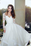 Glamorous V-Neck Backless Sweep Train Long Sleeves Lace Organza Wedding Dresses PM305