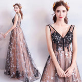 Princess A Line V Neck Applique Prom Dresses with Stars, Lace up Evening Dresses P1235
