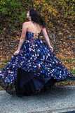 Charming A Line Strapless Sweetheart Embroidery Blue Formal Dresses, Dance Dresses P1400