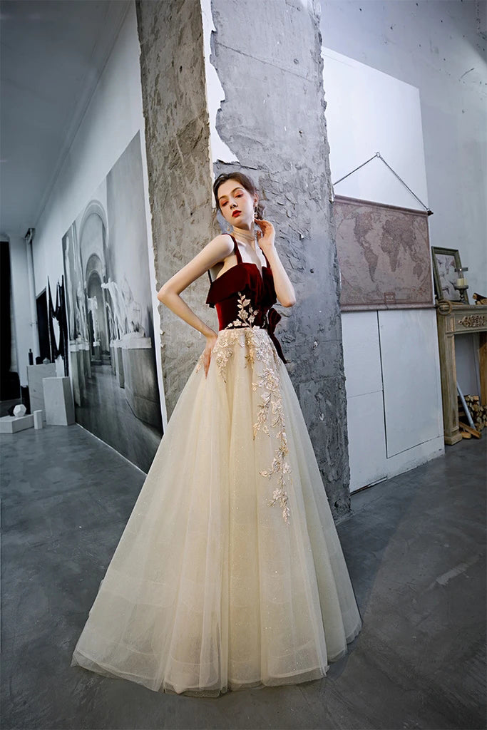 Elegant A Line Straps Sleeveless Party Dress with Appliques, Long Cheap Prom Dresses P1570