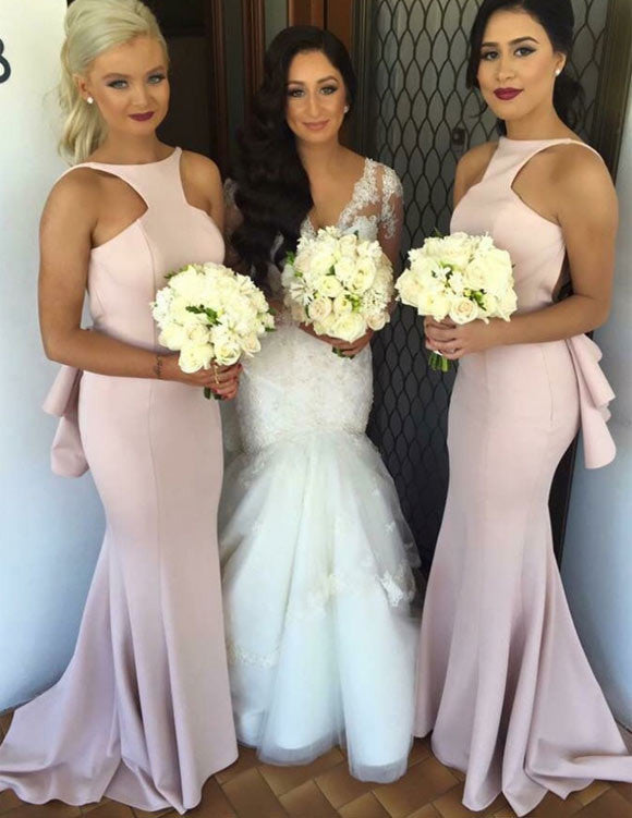 Special Mermaid Long Pink Bridesmaid Dress with Open Back PM618