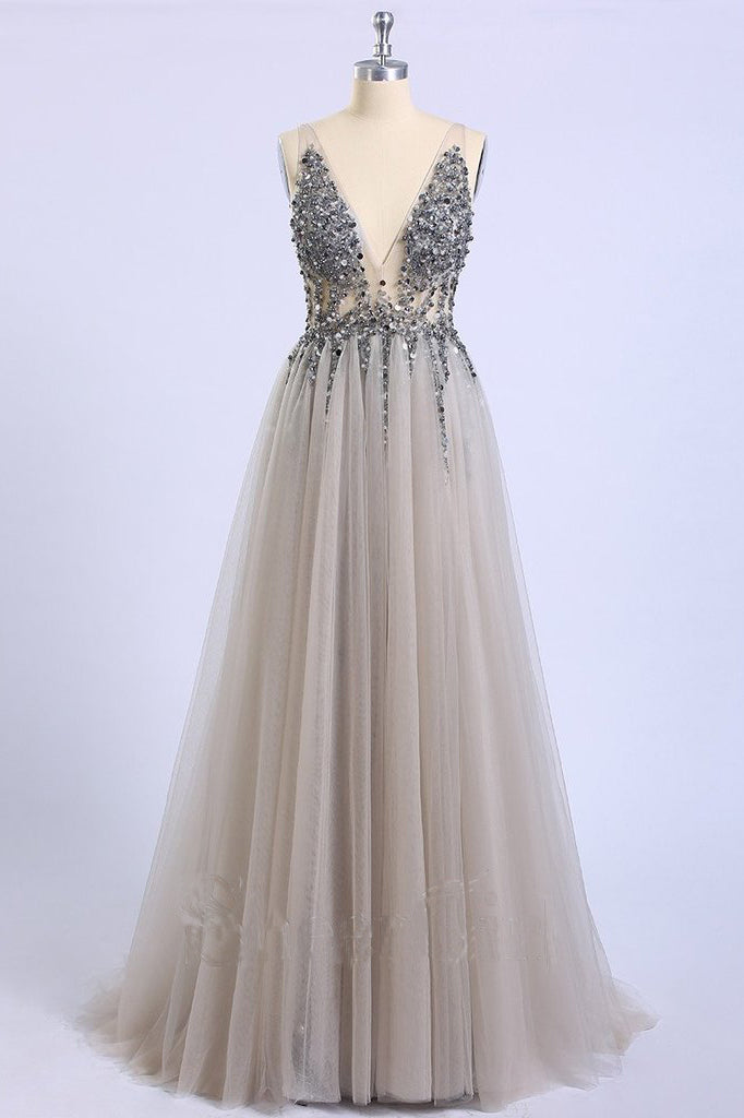 Backless Grey V Neck Sexy Prom Dresses with Slit Rhinestone See Through Evening Gowns P1105