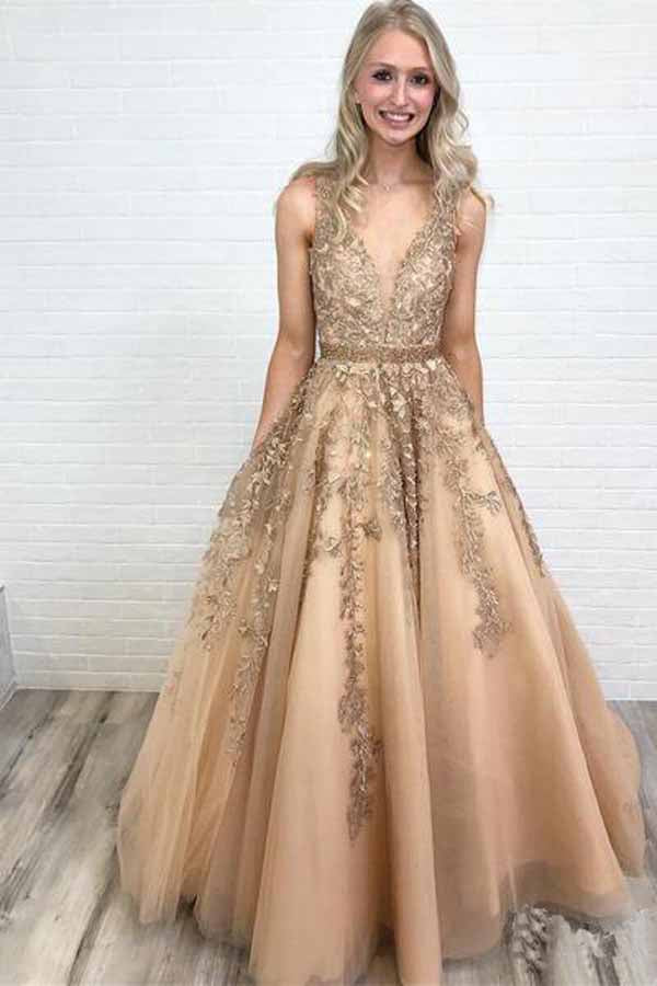 cea495c7577f Ball Gown Gold Lace Long Prom Dresses with Appliques, V Neck Tulle Evening  Dresses PW589