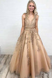 Ball Gown Gold Lace Long Prom Dresses with Appliques, V Neck Tulle Evening Dresses PW589