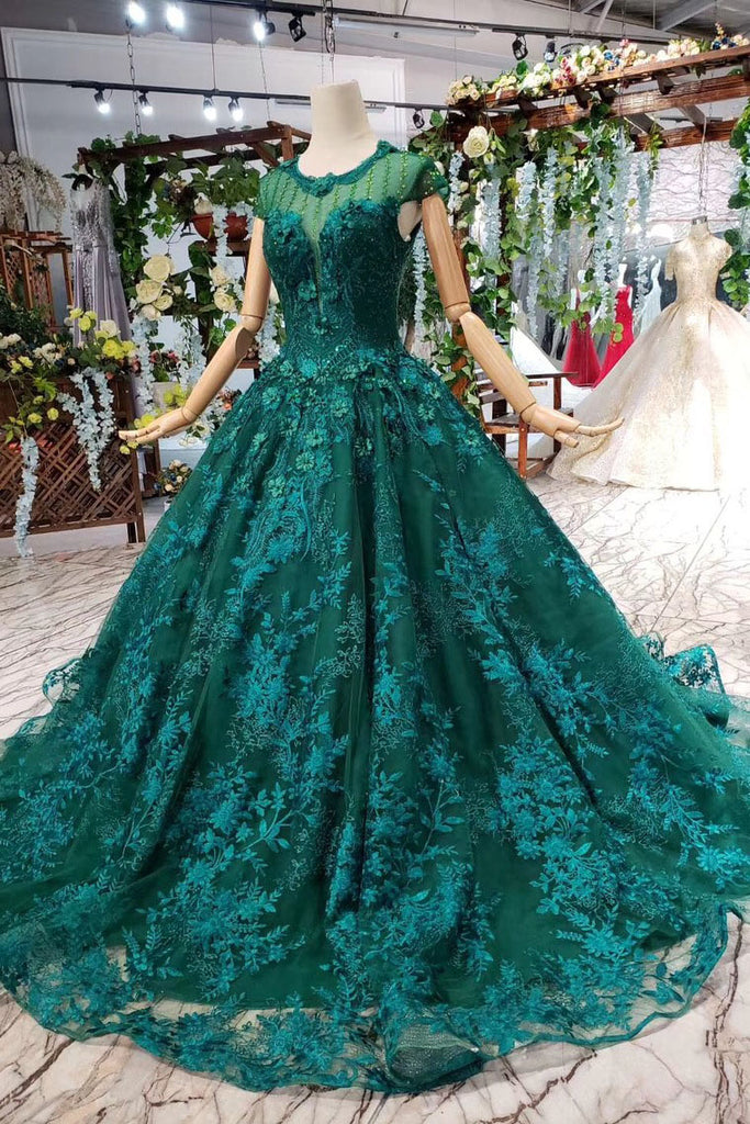 Ball Gown Green Court Train Scoop Lace Appliques Cap Sleeves Lace up Prom Dresses PW787
