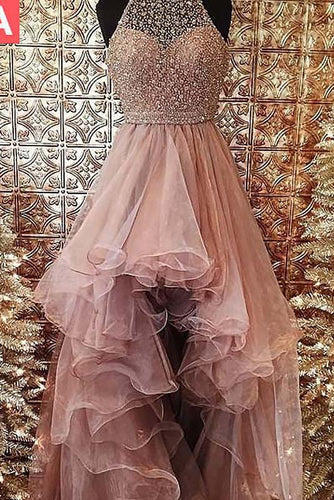 Ball Gown Halter High Low Prom Dresses Beading Asymmetrical Tulle Evening Dresses PW501