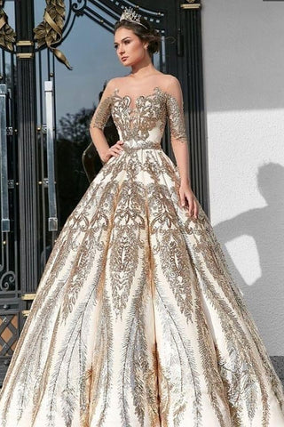 Ball Gown Long Sleeve Lace Appliques Prom Dresses Beads Long Wedding Dress PW544