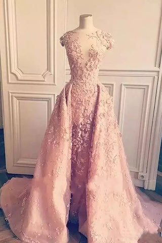 Ball Gown Mermaid Pink Lace Appliques Tulle Cap Sleeve Backless Prom Dresses PW761
