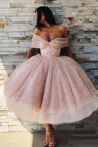 Ball Gown Off the Shoulder Homecoming Dress Pink Tea Length Ball Gown Prom Dresses PW739